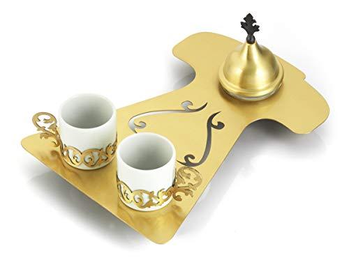 Traditionelles Gold Türkisches Kaffeeservice – Kaftan geformt – vergoldet über Kupfer