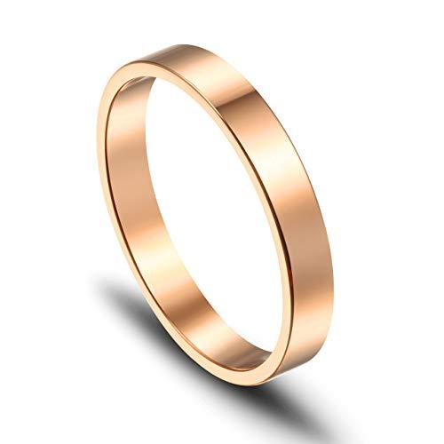 JOVIVI Gratis Gravur - Personalized Edelstahl Ring Rosegold Damenring Freundschaftsringe Geschenk, US#6