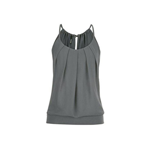 TEBAISE Mode Frauen Sommer Strand Schwimmen Slim Suit Lose Falten O Neck Cami Tank Tops Weste Bluse Oberbekleidung(Grau,EU-32/CN-S)
