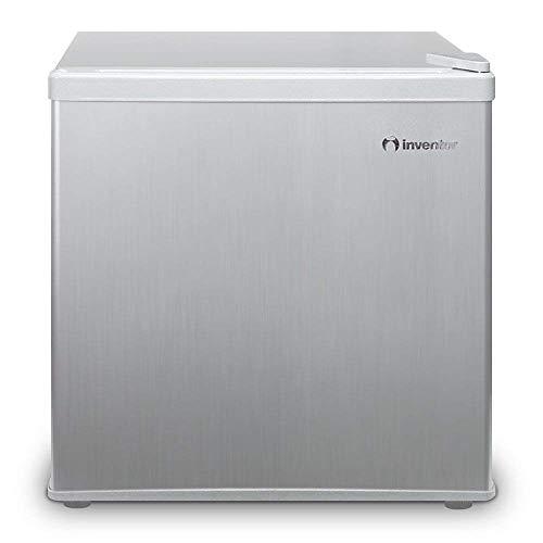 Inventor Mini-Kühlschrank 43L, Energieklasse A++, Lagervolumen 43L, Energieverbrauch 84 kWh/Jahr, wechselbarer Türanschlag, Höhe 49,2 cm, Farbe: Silber