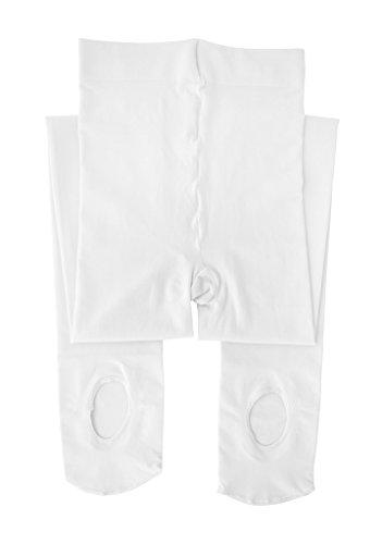 Dancina Mädchen Gymnastik Strumpfhose Ultra-Stretch Mikrofaser m. variablem Fuß 120 DEN L (146 - 164) Weiß (Tanz Strumpfhose Mädchen)