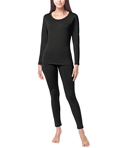 LAPASA Donna Set Termico - Ti Tiene al Caldo Senza Stress- T-Shirt Maniche Lunghe & Pantaloni Invernali Ultra Leggero L17 (Medium, Nero(di Medio Spessore))