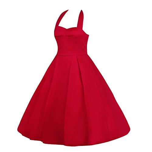 LUOUSE Damen 'Audrey Hepburn' Polka Dots Druck Holder Weinlese- Rockabilly Swing Abend Hochzeit Abschlussballkleid 2Rot
