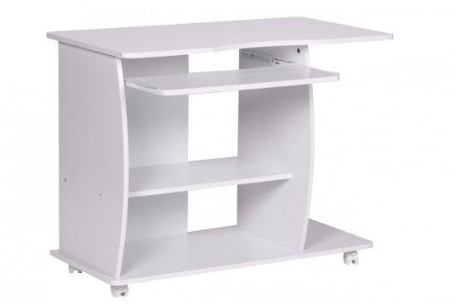 FineBuy Computertisch DAVID rollbar Weiß 90 x 71 x 50 cm mit Tastaturauszug   Laptop Tisch auf feststellbaren Rollen   PC-Tisch mit...