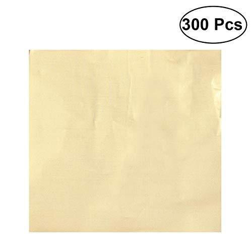 OUNONA Goldschokoladeverpackungen, die Süßigkeits-Aluminiumfolie prägen, prägen Papier 10 x 10cm - 300pcs