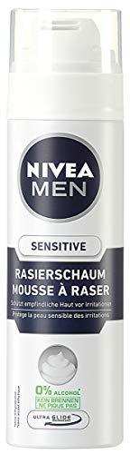 NIVEA Men, 6er Pack Rasierschaum für Männer, 6 x 200 ml Spender, Sensitive, 0% Alkohol