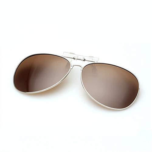 MOJINGYAN Sonnenbrillen,Marke Fashion Designer Polarized Clip Auf Sonnenbrillen Männer Frauen Piloten Sonnenbrille Uv400 Clip Myopie Nachtfahrten Gläser Braun