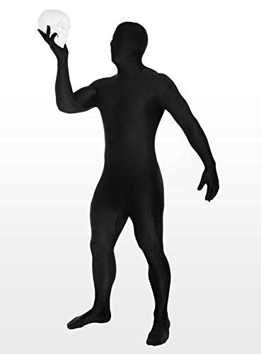 Morphsuit Kostüm schwarz für Erwachsene | Größe M | 1-teiliges Ganzkörperkostüm | Ganzkörperanzug Unisex Faschingskostüm | Zweite Haut Kostüm für (Schwarz Erwachsene Morphsuit)
