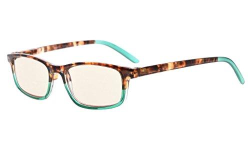 Eyekepper Blaulicht blockierende Gläser, Anti-Augen-Stress-Kopfschmerzen Computer Brille für Frauen, bessere Schlaf Lesebrille, gelb getönte Linse (Grün, 1.75)