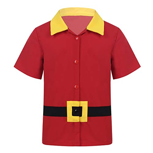 Freebily Kinder Jungen T-Shirt Kurzarm Revers Druckknöpfe Tops Prinz Kostüm Oberteil Halloween Cosplay Partykleidung Gr.80-116 Rot - Prinz Kostüm 2 3 Jahre