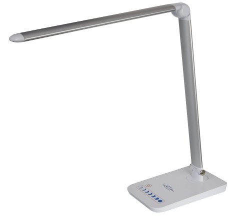 Desk Lamp, TECOOL 7-Level Dimmable Eye Care Touch Control LED Table Lamp with USB Charger Port - Silver