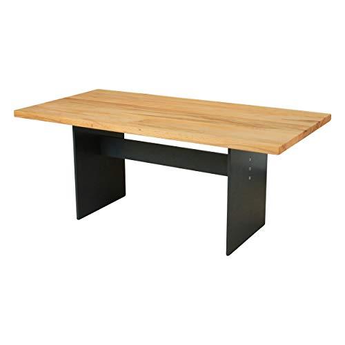Esstisch Manhattan Kernbuche massiv 160 x 90 cm, Designer Tisch Massivholz mit Rohstahl Tischgestell, Holztisch Metall Stahl, Premium Esstisch, Design Esstisch Exklusiv!