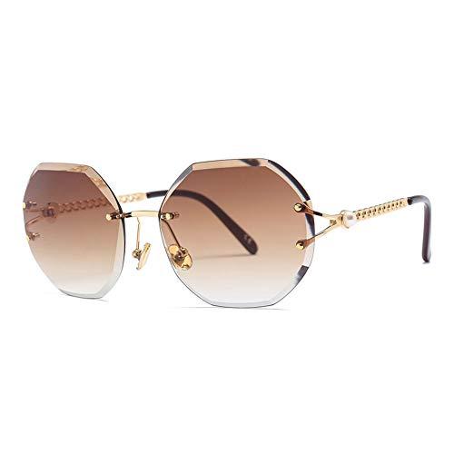 Thirteen Unregelmäßige Trimmen Sonnenbrille Frauen Perle Tempel, UV400 Geeignet Für Dekoration, Sonnenschirm, Reisen Im Freien, Einkaufen, Reisen, Fahren. (Color : E)