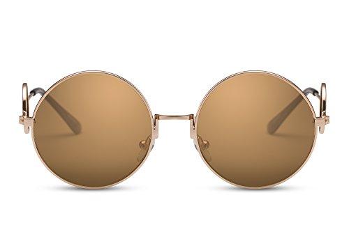 Cheapass Sonnenbrille Rund John Lennon Gold Braun UV-400 Festival-Brille Metall Damen Herren