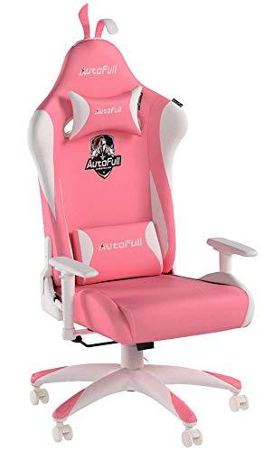 AutoFull Pink Gaming Stuhl Bürostuh Chefsessel PU-Leder Ergonomische Computer Stühle mit Kopfstütze und Kissen