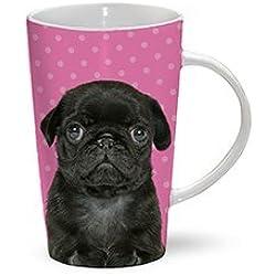 Taza de café con diseño de perro carlino