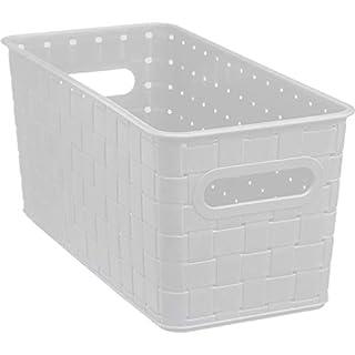 AC-Déco Aufbewahrungskorb, Kunststoff, 31 x 15 x 14 cm, Weiß