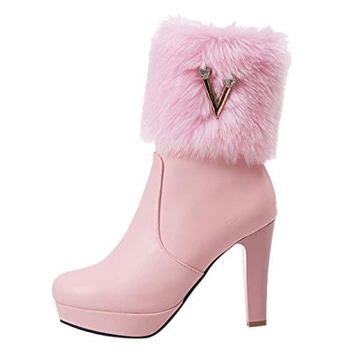 Maleya Winter High Heel warme Damen Stiefel Strass niedrige Stiefel Dicke Ferse Schuhe New Arch Support Boots Aufladungen Leder Retro Papa Stiefel National Stiefeletten Knöchel Plattform -