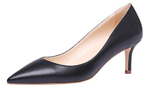 AOOAR Damen Kitten-Heel Elegante Schwarz PU PumpsSchuhe EU 42
