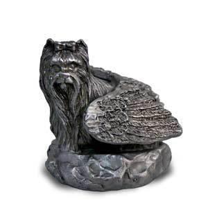 Yorkie Yorkshire Terrier in peltro angelo Statua ornamentale