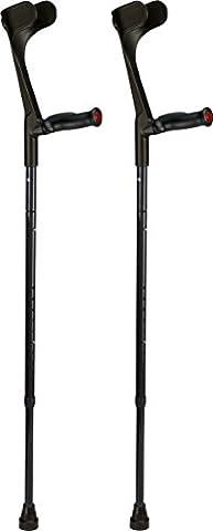 Ossenberg Paire de béquilles de voyage ergonomiques pliantes en fibre de carbone Noir