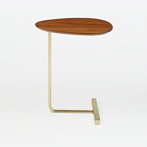 Schmiedeeisen-sofa (Lzz Oval-förmigen kleinen Couchtisch kreative einfache Massivholz Sofa EIN Paar Schmiedeeisen Nachttisch Ecke modernen faul Lesetisch Größe: 30 * 45 * 60cm)