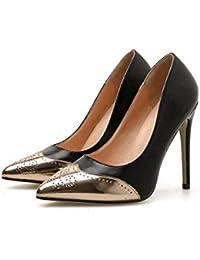 Las Mujeres De La Bomba De Tacón Alto Zapatos De Vestido De Novia Sexy Dedo del Pie 11Cm Aguja De Color A Juego OL Corte Zapatos UE Tamaño 34-40,Black,38EU