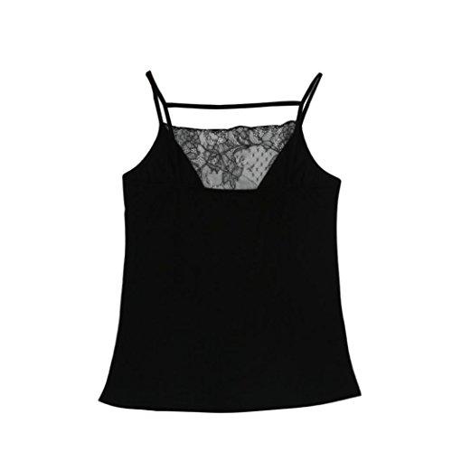 Manadlian T-Shirt,Femmes Gilet T-Shirt Tops Sexy Backless sans Manches Noir