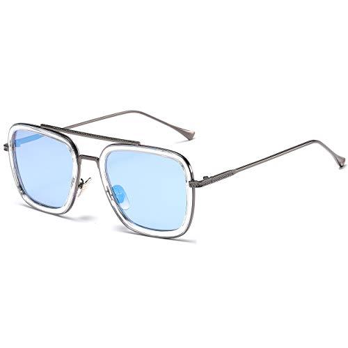 SHEEN KELLY Luxus Retro Sonnenbrille Tony Stark Brillen Quadratische Metallrahmen für Männer Frauen Klassiker Sonnenbrille Piloten Grau Schwarz Linsen (Schwarz Und Grau Sonnenbrille)