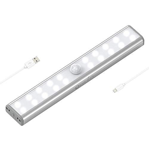 OxyLED Bewegungs Sensor Wandschrank Lichter,USB-wieder aufladbarer heller Stab mit Magnetstreifen,20 LED unter Kabinett-Licht für Kabinett,Treppe,Waschraum,Schlafzimmer, Garderobe, Schminkspiegel - Mount-unter-kabinett Lichter