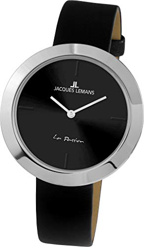 Jacques Lemans La Passion Femme 37mm Bracelet Cuir Noir Quartz Montre 1-2031A