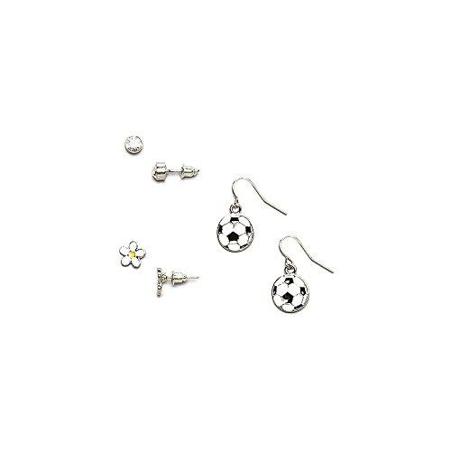 Lux Accessories - Kinder, Mädchen & Damen Gold & Weiß Fußball & Gänseblümchen Ohrhänger & Ohrstecker im Set (Gefälschte Gold Modeschmuck)