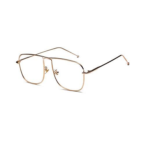 YMTP Vintage Quadratische Brillen Rahmen Männer Gold Metall Brille Rahmen Frauen, Gold Mit Klar