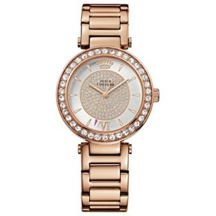 Crystal Pave Juicy Couture Ladies' Rose T-Bar Stone Set Bracelet Watch.