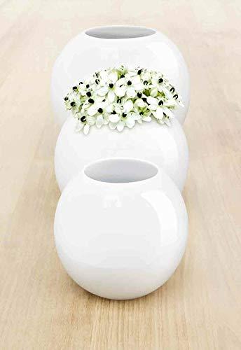 ASA Ball Vase, Keramik, weiß, 15x17,5x15 cm