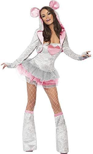 Fancy Me Damen Sexy grau Tutu Maus Tier Henne Do Halloween Kostüm Kleid Outfit UK 4-18 - grau, ()