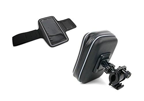 DURAGADGET 3 in 1 Set: wasserabweisendes Outdoor-Fitnessarmband in Schwarz und Fahrrad-Halterung mit Hülle für Lumigon T2 HD Smartphones
