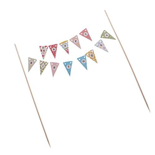 Baoblaze Wimpelkette für Torten inkl. Sticks mit Pompom, Kuchen- und Tortendekoration Happy Birthday, Menge: 1 Stück - Multi Dreiecke (Fotos De Pe)