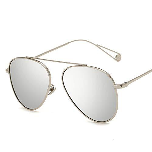 Easy Go Shopping Mode Metall Bunte Männer und Frauen Sonnenbrillen Trend polarisierte Sonnenbrille Sonnenbrillen und Flacher Spiegel (Color : Silber, Size : Kostenlos)