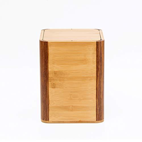 Kffc Cubo de la Basura  cesto de Basura Hogar Creativo de bambú de Madera Papelera Papelera Canasta...