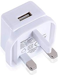 SOAIY 5V2A USB Fast Charger Plug 3 Pin UK Main Adapter Plug,White (2A-1PCS)