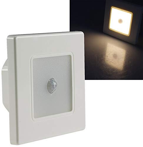 ChiliTec LED Wand Einbauleuchte mit Bewegungsmelder 120° I 2,5 Watt I 86x86x33mm I Rahmen Weiß Lichtfarbe Warmweiß