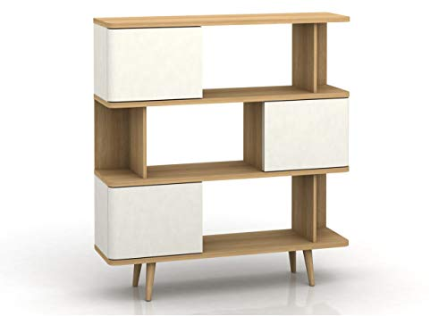 Loft24 Anne Design Holz Regal Bücherregal Standregal Wohnzimmer 3 Türen Retro Skandinavisch weiß 3 Tür-bücherregal