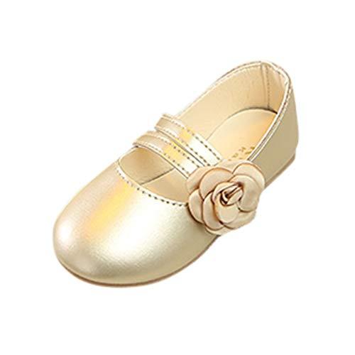 SEWORLD Sandalen für Kinder Sommer Baby Mädchen Blumen Tanzschuhe Performance Schuhe Princess Freizeitschuhe Lauflernschuhe Einzelne Schuhe Weiche Sohle Krabbelschuhe(Gold,32 EU)