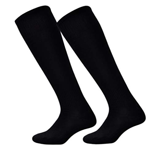 chenpaif 9 Colors Mens Unisex Thin Football Soccer Sport Long Socks Over Knee High Baseball Hockey Ribbed Trim Elastic Solid Color Polyester Hosiery Breathable Black