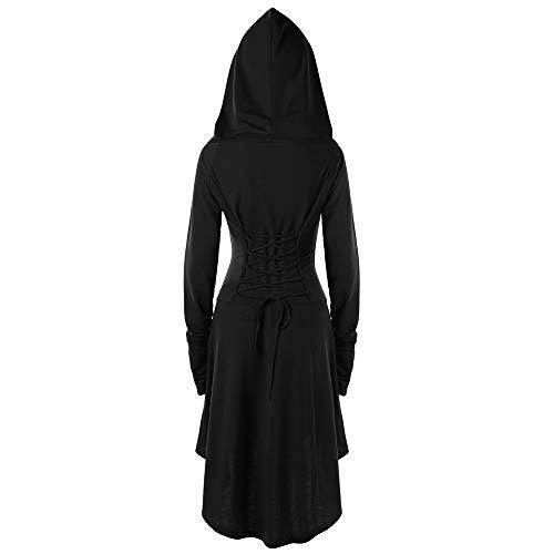 2019 Gotische Kleidung Langarm mit Kapuze Mittelalter Kleid Mittlere länge Kleid Cosplay Dress Age Mittelalter Kleidung Große Größen Renaissance Kostüm Lang Halloween Kostüm (EU:40/CN-L, Schwarz)