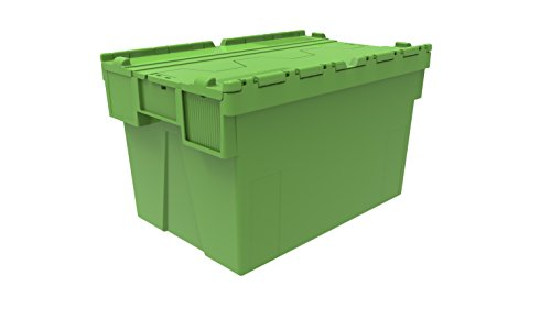 2 x Colour Coded Attached Lidded Plastic Box 65 Litres - Red, Blue or Green Plastic Storage Box Container Crate Tote with Tessellated Lid Design - Attached Lid Box (Green) by Solent Plastics (Garage Storage-boxen)