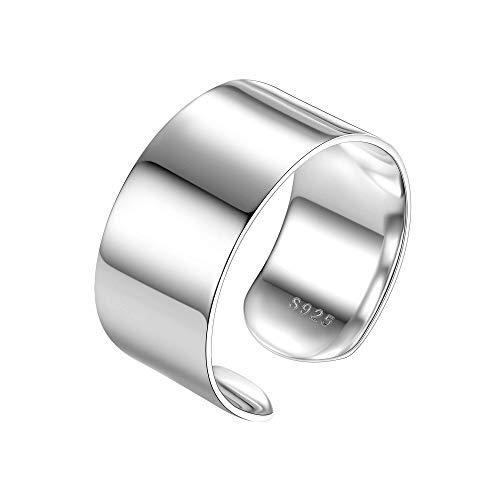 PROSILVER Breiter Ring 925 Silber für Männer Frauen - verstellbar hochglanzpoliert Bandring 10mm breit Offener Ring perfektes Geschenk für Mädchen Jungen