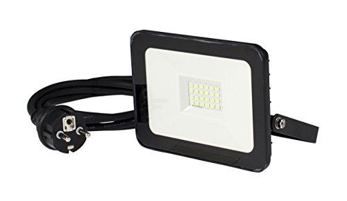 as - Schwabe 46320 CHIP-LED-Strahler 20W, mit 2M Leitung und Schuko-Stecker, 20 W, 230 V, Schwarz
