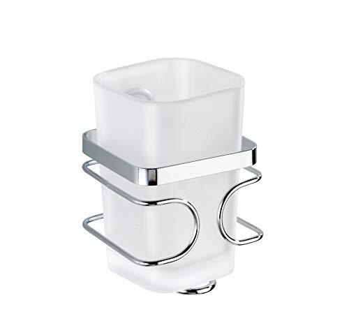 Wenko 20415100 Zahnputzbecher Premium - Zahnbürstenhalter für Zahnpasta, Edelstahl rostfrei, 7,5 x 11,5 x 8,5 cm, Glänzend